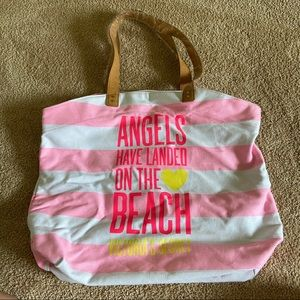 Victoria's Secret Pink Striped Canvas Beach Tote